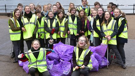Youngsters from Diss High School take part in a litter pick around the Diss Mere.PHOTO: Nick Butche