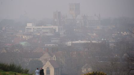 A day of mist and pollution in Norwich. Picture: Simon Finlay