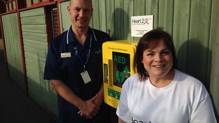 """A new defibrillator at the Gorleston Lawn Bowling Green near the clifftop. Michael """"Micky"""" Cox, a ca"""