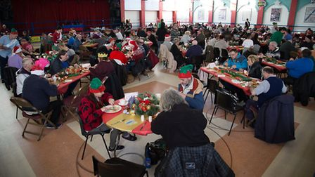 Guests enjoying their lunch at Open Christmas Dinner for the homeless 2016 at Retroskate, Marina Ce