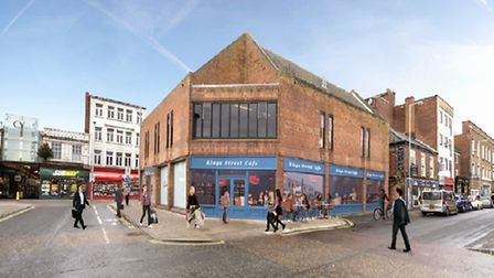 A impression of what the new shop unit on the corner of Regent Road and Theatre Plain, Great Yarmout