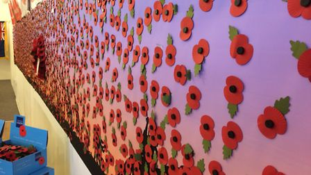 The poppy wall at the Vancouver Quarter. Pictyre: David Blackmore.