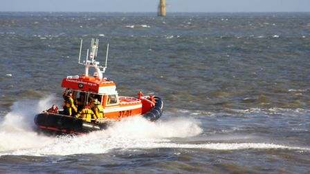 The lifeboat makes a speedy return to shore. The Caister Lifeboat remembrance day service on Sunday,