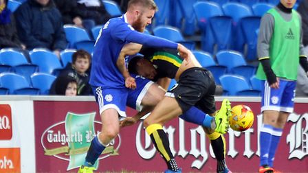 Aron Gunnarsson gets to grips with Jacob Murphy at Cardiff City Stadium. Picture: Paul Chesterton/Fo