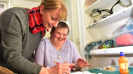 Waveney Enterprises is looking for more service users. Volunteer Zoe Hindes with one of the users. P