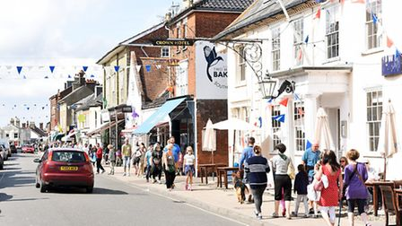 The High Street in Southwold on a busy summers day in August. Picture: James Bass