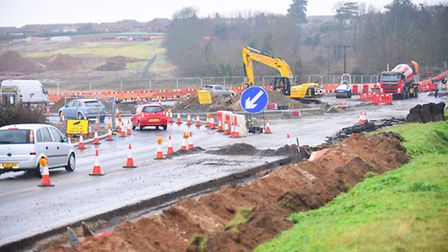The new roundabout on the A149 at Heacham is starting to take shape. Picture: Ian Burt