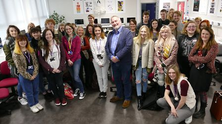 Chris Riddell with art and design students at the College of West Anglia. Picture: Luke Byron
