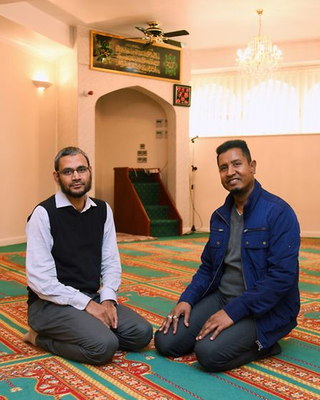 Sirajul Islam, left, secretary of the Mosque management committee, and Mohabbath Sheikh, chairman, a