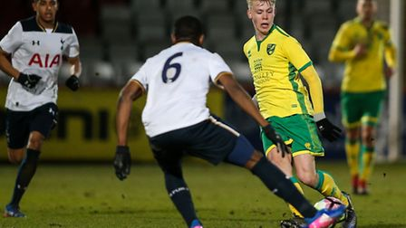 Agust Hlynsson of Norwich City U18 (right) during the fifth round of the FA Youth Cup match against