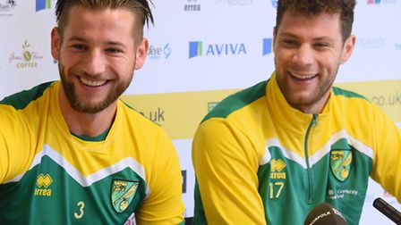 Norwich City's new Dutch signings, Mitchell Dijks, left, and Yanic Wildschut. Picture: DENISE BRADLE
