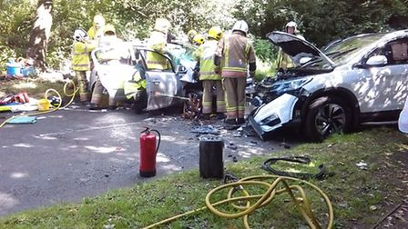 The aftermath of the crash on Blue Boar Lane in Sprowston. Picture Nextbase/Steven Jefferson
