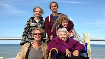 Brenda Hare with from left to right granddaughther Beth, daughter Diana and grandsons Dan and Oscar.