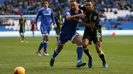 Ashley Richards of Cardiff City and Jacob Murphy of Norwich in action during the Sky Bet Championshi