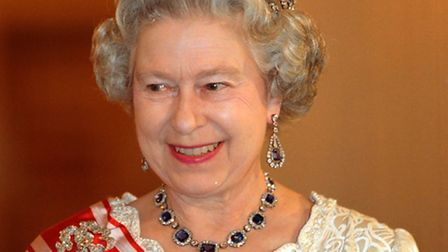 The Queen wears her sapphires at a state banquet in Prague Castle, during her visit to the Czech Rep