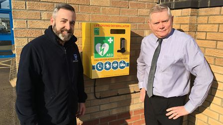 Steve Sadler, left, and Ken Seaman , with the new community use defibrillator at Lee and Plumpton in