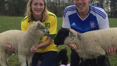 Hannah Dagless with Bellamy and Jay Smart with Warky ahead of the Easton and Otley College lambing w