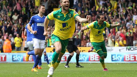 Wes Hoolahan celebrates his goal against Ipswich Town in a previous match (Picture: Paul Chesterton/