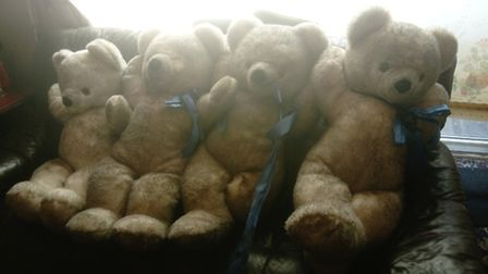Four teddy bears rescued by Serina Salt in Great Yarmouth. Picture: Serina Salt