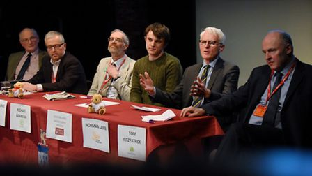 North Norfolk MP Norman Lamb, second right, speaks out about Donald Trump at Paston Sixth Form Colle