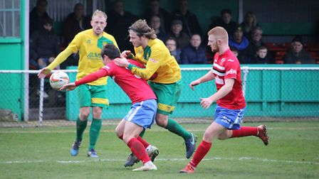Action from King's Lynn Town's 5-0 defeat at Hitchin Town. Photo: Kevin Lines