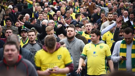 Fans ahead of the NCFC v Ipswich Town FC derby match.Picture: ANTONY KELLY