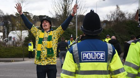 NCFC fans after the NCFC v Ipswich Town FC derby match.Picture: ANTONY KELLY
