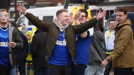 Ipswich fans after the NCFC v Ipswich Town FC derby match.Picture: ANTONY KELLY
