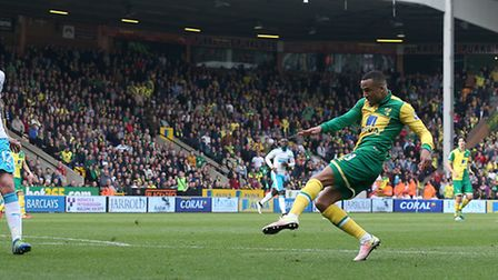 Martin Olsson scores the winner in the 3-2 win over Newcastle United at Carrow Road in 2016. Picture