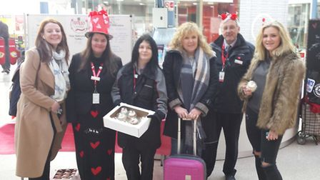 Staff gave commuters a tasty Valentine's Day treat at Norwich Station this morning. Photo: Greater A