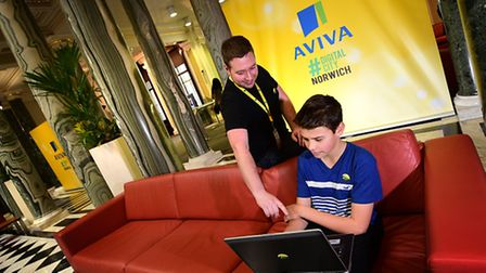 Digital City 2016. Andy Moncur, 15, a student from Hellesdon High School with Aviva digital software