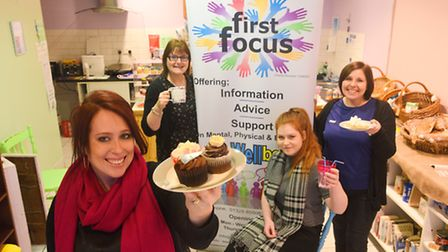 First Focus have opened a new community cafe in Fakenham. Pictured are (from left) April Simnor, Cla