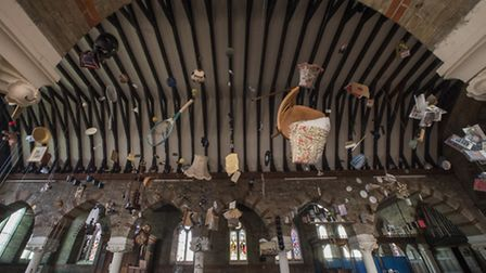 St John's Church, Yarmouth is home to a new Art Installation with every day objects haning from the
