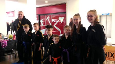 Members of the Phoenix Karate School taking part in a display at thr Market Gates shopping centre in