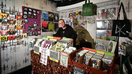 Ian Goldsmith at his Norwich Market stall, Mare's Nest Music.Picture: ANTONY KELLY
