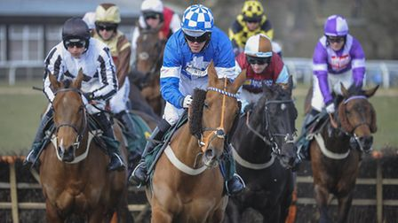Raktiman, favourite for this afternoon�s feature race at Fakenham, leads the way during a previous r