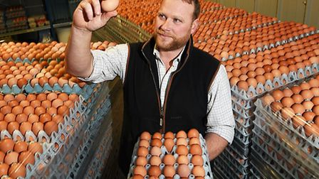 Riddlesworth free range chicken farmer Ben Chandler pictured in his free range egg store.Picture: A