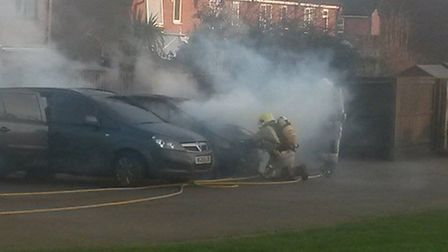 A vehicle fire in Lancaster Rise, Mundesley spreads to a second vehicle, garden shed and a section o