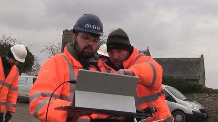 Sam Johnson and Andy Funnell operating the drone for Anglian Water. Picture Mustard TV