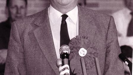 Jim Prior speaking after the declaration of the result in the Waveney constituency at Lowestfot toda