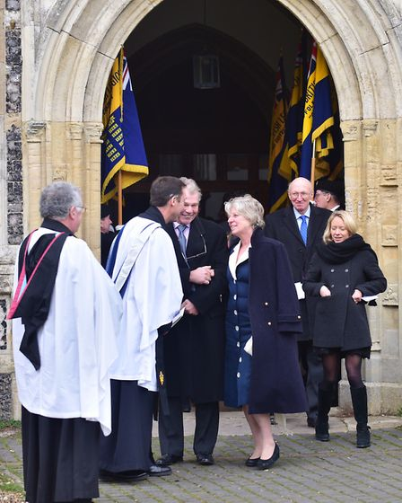 Guests leaving St Edmunds Church in Southwold after attending Lord Prior's memorial service on Frid