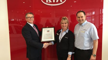 Hamish McCowan is pictured left and on the right is Tracy Phelan, Service Manager and Karl Rogers, N