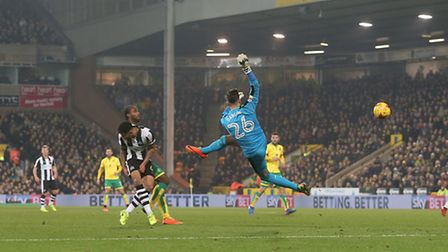 Karl Darlow's mistake sets Cameron Jerome through on goal for City's second goal. Picture by Paul C
