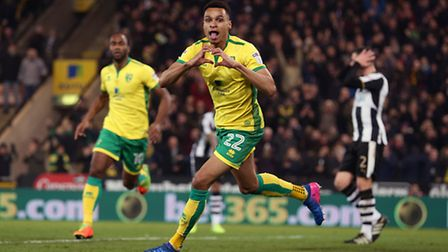 Jacob Murphy leads the Valentine's Day celebrations at Carrow Road after equalising against Newcastl