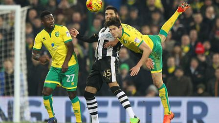 Timm Klose wins a header for the Canaries against Newcastle. Picture by Paul Chesterton/Focus Image