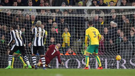 John Ruddy is helpless as Jamaal Lascelles scores Newcastle's equaliser. Picture by Paul Chesterton