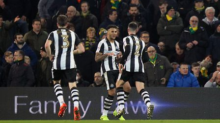 Jamaal Lascelles celebrates the visitors' equaliser at Carrow Road. Picture by Paul Chesterton/Focu