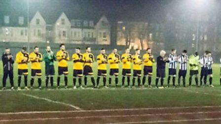 Great Yarmouth Town Reserves and Belton observe a minute's silence in memory of Ryan Harman, who die