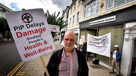 Protest outside the PIP Consultation Centre on Prince of Wales Road against cuts to disability benef