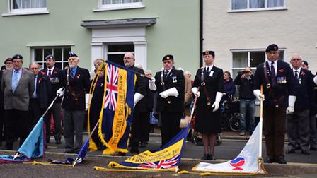 Wymondham Remembrance Day in 2015. Dawn Jessett, front, second from right, is showin lowering the st